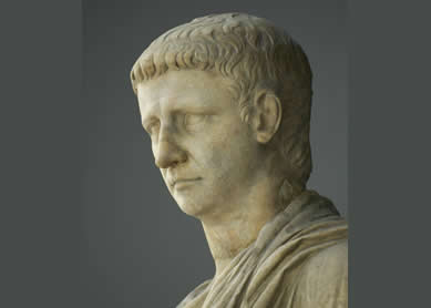 Head of the Roman emperor Claudius, who ruled from 41 C.E. To 54 C.E. Marble, Vatican Museums,  Chiaramonti Museum, New wing, 114, Rome, Italy.