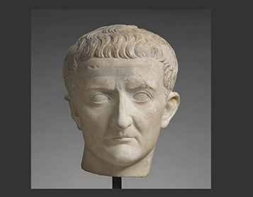 : Portrait Head of Tiberius, early first century. Marble, Getty Villa Gallery 108, Temple of Herakles.