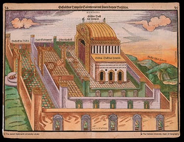 Heinrich Bünting, The Temple of Solomon and Its Courts, 1585. From Itinerarium Sacrae Scripturae, part 1 (Helmstadt: Jacobus Lucius, 1585), 34–35. Jewish National and University Library, Hebrew University of Jerusalem, Israel.