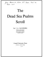 The Dead Sea Psalms Scroll