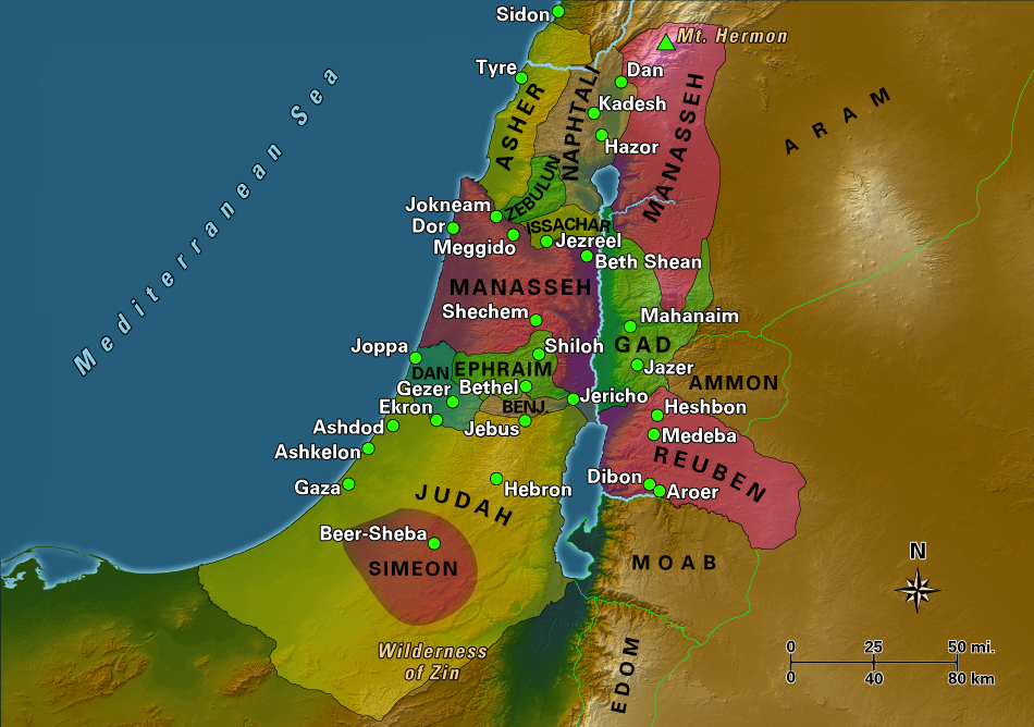 12 Tribes Of Israel Map Twelve Tribes