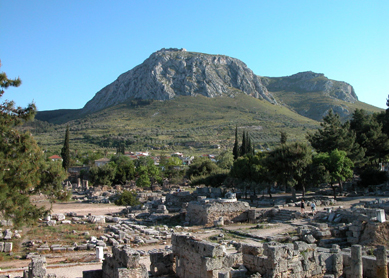 Ancient Corinth, with Acrocorinth in the background.