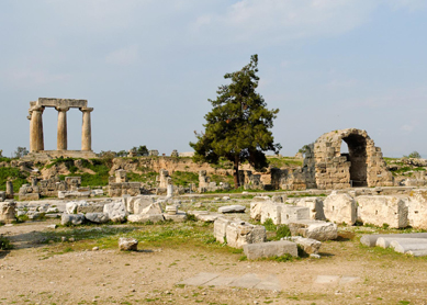 Ruins of the forum and the temple of Apollo at ancient Corinth.