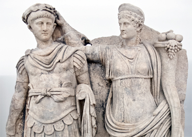 Agrippina crowns her son Nero with a laurel wreath. Aphrodisias Museum, Geyre, Turkey.