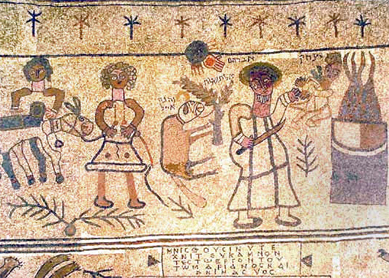 Mosaic representing the Akedah (Binding of Isaac) from the ancient synagogue in Beit Alpha (Israel).