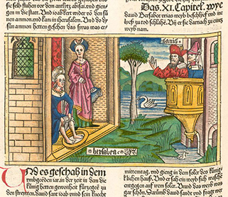 2 Sam 11:1-5 illustrated in a late fifteenth-century printed Bible, Nuremberg. Hand-colored woodcut, private collection.
