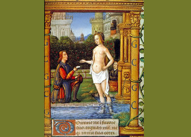 Bathsheba bathing and a male messenger, from the Book of Hours of the Vasselin Family, 1508. Parchment codex, Harley Manuscript. 2969, f. 91, British Library.