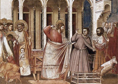 Giotto di Bondone, Expulsion of the Money-Changers. Fresco, 1304–1306.