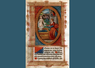David and Bathsheba from a Book of Hours 1515. Illuminated manuscript, private collection.