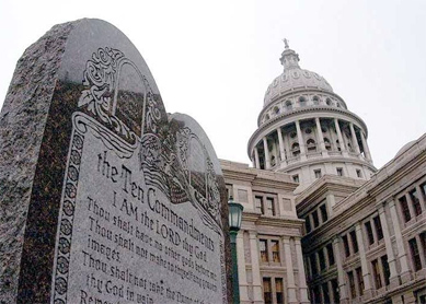 The Ten Commandments on display outside the Texas State Capitol in Austin.