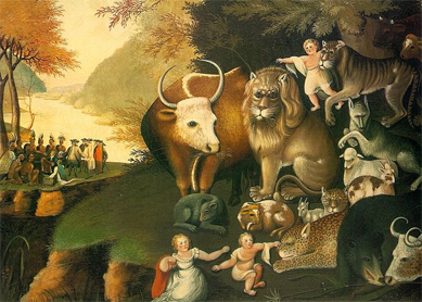 Edward Hicks, The Peacable Kingdom. Oil on canvas, circa 1834. National Gallery of Art, Washington.