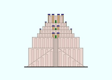 Reconstruction of Etemenanki, based on Hansjörg Schmid, Der Tempelturm Etemenanki in Babylon (Mainz: von Zabern, 1995), plan 10.