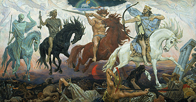 Victor Vasnetsov. Four Horsemen of the Apocalypse - Conquest, War, Famine & Death, 1887.