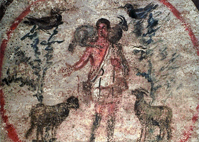 "Painting with a ""good shepherd"" motif from the Catacomb of Priscilla, Rome. Second half of the third century C.E."