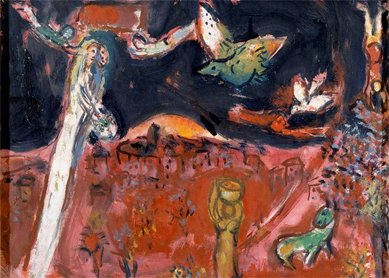 Marc Chagll, Song of Songs III.  Gouache and oil on paper, 1960.  Musée du Message Biblique Marc-Chagall, Nice, France.