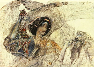 Mikhail Vrubel, Six-winged Seraph. Watercolor and lead pencil on paper, 1905. Museum of Alexander Pushkin, St. Petersburg, Russia.