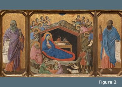 Duccio di Buoninsegna, The Nativity between Prophets Isaiah and Ezekiel, 1308-1311.