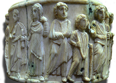 A fifth- or sixth-century ivory pyxis (medicine box) depicting scenes from Jesus's life, including the woman taken in adultery. Musée de Cluny, Paris.
