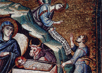Pietro Cavallini, The Birth of Christ. Detail of a mosaic depicting six scenes from the life of Mary, circa 1291. Santa Maria Trasteverde, Rome.