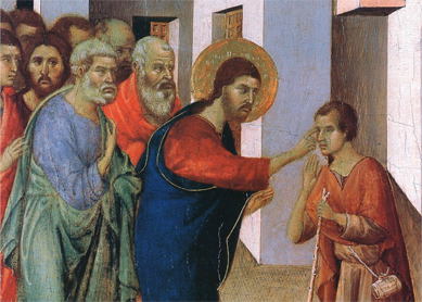 Duccio di Buoninsegna, Healing the Man Born Blind. Tempera oil on wood, 1308-1311.