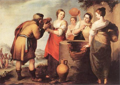 Bartolome Esteban Murillo, Rebecca and Eliezer. Oil on canvas, 1650. Museo del Prado, Madrid.