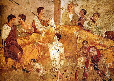 Painting from Pompeii showing a banquet or family ceremony, before 79 C.E. Museo Archeologico Nazionale, Naples.