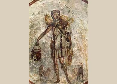 Jesus as the Good Shepherd, mid-third century C.E. Mural, Catacombs of San Callisto, Rome.