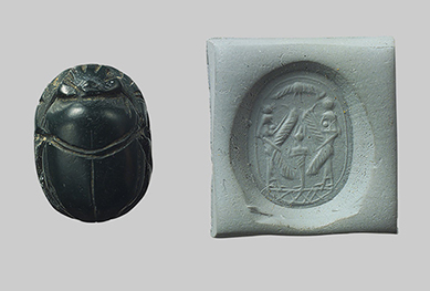 Stamp seal in the shape of a scarab, 6th to 5th century B.C.E.