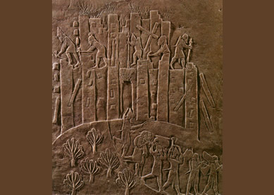 The destruction of Susa, capital of Elam, by Ashurbanipal, 647 B.C.E. Relief. Photo supplied by user Zereshk at English Wikipedia.