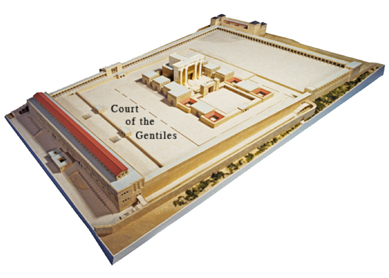Model of the Herodian Temple Mount viewed from the southeast, indicating the location of the Court of the Gentiles.