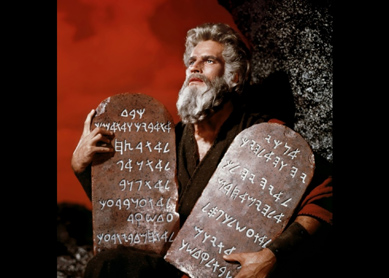 Charlton Heston as Moses in the 1956 film The Ten Commandments.