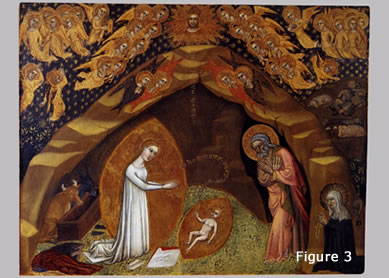 Niccolò di Tommaso, St. Bridget and the Vision of the Nativity. Tempera on wood, ca. 1372. Vatican, Rome.