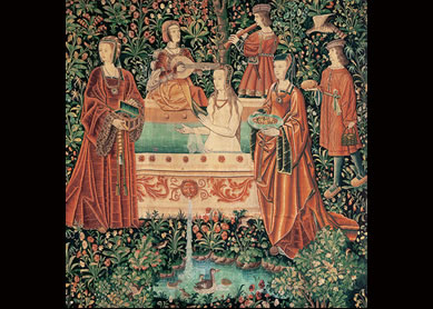 Bathing scene from a series of tapestries, La vie seigneuriale (noble life), Belgium,  c. 1500. Wool and silk. Musée de Cluny, Paris.