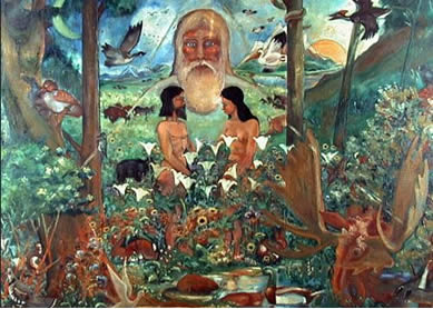 Roger Vandersteine, Adam and Eve in the Garden of Eden, 1975. Oil on canvas, The Royal Alberta Museum, Canada.