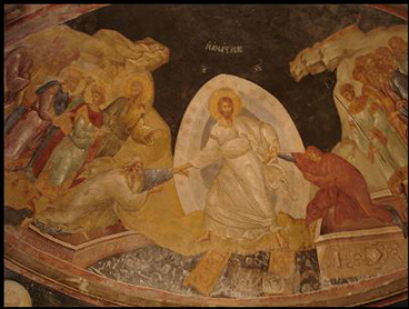 Anastasis (Resurrection). 14th century.  Byzantine fresco from Saint-Saviour-in-Chora, Istanbul.