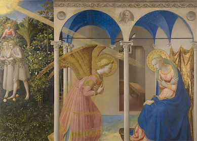 Fra Angelico, The Annunciation, 1430–1432. Tempera on panel, Museo del Prado, Madrid.