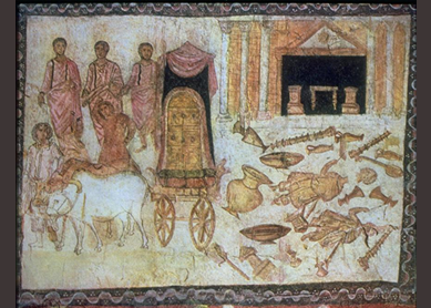 The Philistine Temple of Dagon Devastated by the Ark of the Covenant, circa 244–245. Dura-Europos Synagogue, Syria.