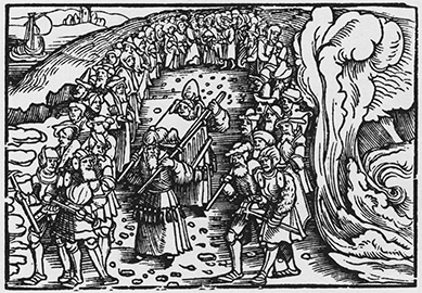 Erhard Schoen, The Ark of the Covenant Carried across the Jordan, 1524. Woodcut reprinted in Walter L. Strauss, The Illustrated Bartsch, 13, Commentary: German Masters of the Sixteenth Century; Erhard Schoen, Niklas Stoer (New York: Abaris Books, 1984).