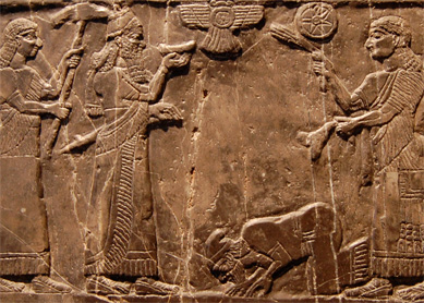 Depiction of Jehu, King of Israel, giving tribute to King Shalmaneser III of Assyria. Detail of a relief on the Black Obelisk of Shalmaneser III from Nimrud, circa 827 B.C.E. The British Museum, London.
