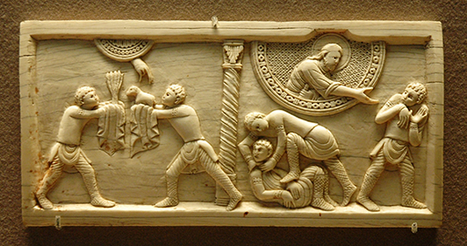 Cain and Abel, circa 1084. Ivory panel from the Cathedral of Salerno, Italy. Louvre Museum