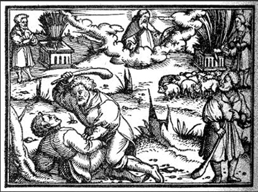 Cain and Abel, 1564. Woodcut, from Die Gantze Bibel, printed in Germany by Christoph Froschauer. Courtesy of the Digital Image Archive, Pitts Theology Library, Candler School of Theology, Emory University.