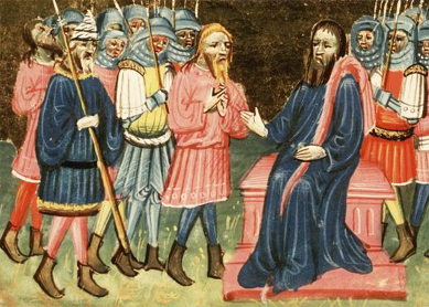 Achior before Holofernes. Manuscript illumination by the Azor Masters, circa 1430. Royal Library, The Hague, Netherlands.