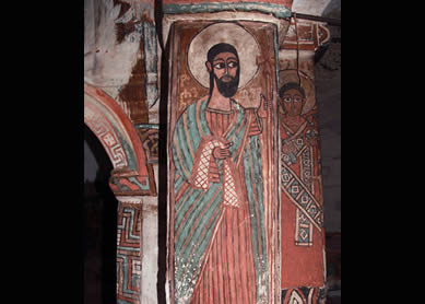 Mural of St. John, Church of Bahera. 15th century. Hawzien, Ethiopia. © Ethiopian Heritage Fund