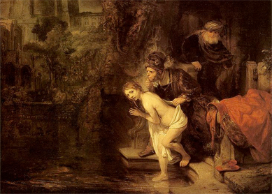 Rembrandt van Rijn, Susanna and the Two Elders, 1647. Oil on panel, Gemäldegalerie, Berlin.