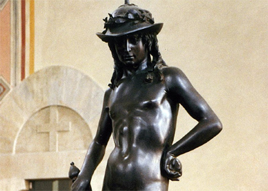 Donatello, David (detail), 1430–1432, Bronze. Bargello Palace and Museum, Florence.