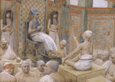 James Tissot, Joseph Interprets Pharaoh's Dream. Gouache on board, circa 1896–1902.