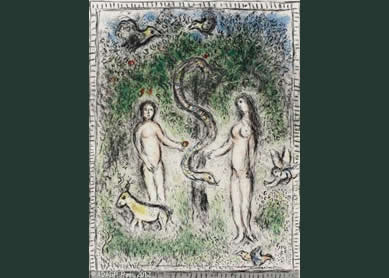 Marc Chagall, Adam, Eve, and the Serpent, 1977.