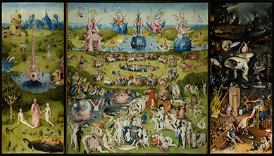 Hieronymous Bosch, The Garden of Earthly Delights, circa 1490–1510. Oil on wood, Museo del Prado, Madrid, Spain. The right panel depicts the journey to the Abode of the Dead.