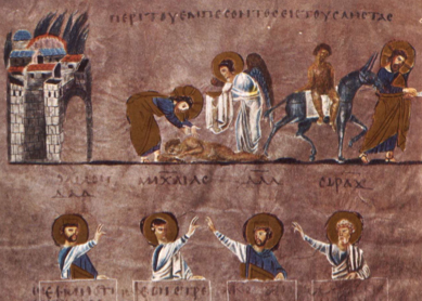 The story of the good Samaritan. Manuscript illumination from the Rossano Gospels, sixth century.