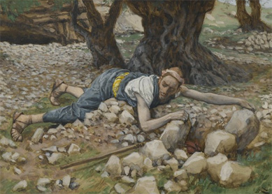 James Tissot, The Hidden Treasure. Watercolor over graphite on gray wove paper, between 1886 and 1894.